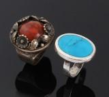 N. E. From m.fl. Ringe, sterling sølv, varmebehandlet rav og turkis (2)