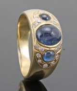 18kt diamond ring with star sapphire approx. 0.30ct