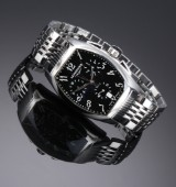 Longines Evidenza men's chronograph, steel, black dial, 2000's