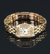 Cartier Panthere ladies' watch, 18 kt. gold, pale dial, 1990's