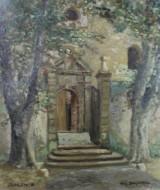 Willy Bungarten, Acryl auf Platte, 'Eingang zu Dorfkirche'
