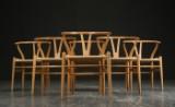 Hans J. Wegner: A set of six chairs, Wishbone Chair, oak, model CH-24 (6)