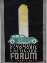 Sven Henriksen. Vintage lithographic poster for 'International Automobil Udstilling' in Forum 1934'