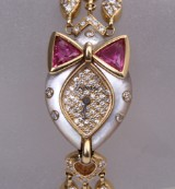 DeLaneau 'Les Delicates'. Ladies watch, 18 kt. gold, with diamonds and rubies