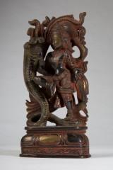 Shiva mit dreiköpfiger Kobra, Bronze, patiniert