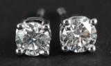 Diamond earrings in 14k set with diamonds 1.00 ct