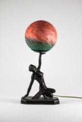 Bordslampa, glas och metall, art deco-stil, 1900-talets slut.