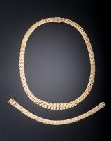 Smykkesæt af 14 kt. guld i murstensmønster - 51,9 gram (2)