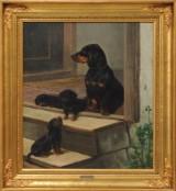 Simon Simonsen, oil on canvas, scene with dogs