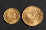 Guldmønter Christian X - 20 kroner 1914 og 10 kroner 1913 (2)