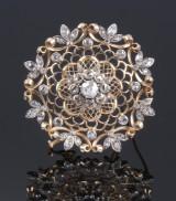 Rund diamantbroche af 18 kt. guld. 1900-tallets begyndelse