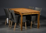 Havebord i teak, samt fire stole (5)