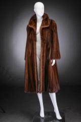 Brown mink swing coat, size 40