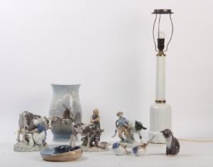 Samling Porcel Nsfigurer Stor Vase Samt Heiberg Lampe 9