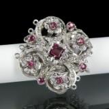Collierlås, 5-radet af hvidguld med rubiner og diamanter