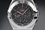 Omega 'Constellation Double Eagle'. Men's watch, steel with black dial - certificate 2007