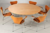 Arne Jacobsen, Piet Hein & Bruno Mathsson. Super Circular dining table and six Series 7 chairs (7)