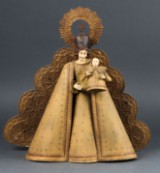 Maria med barnet i bemalet metal