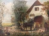 Unbekannter Künstler, Öl auf Leinwand  'Bauernhof'