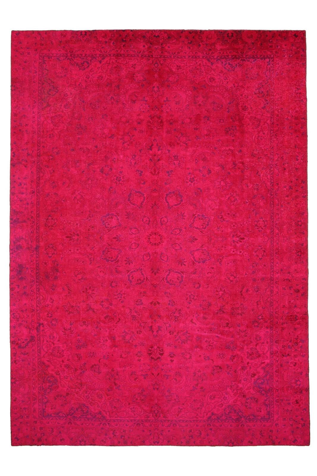 Persisk Vintage tæppe, 354 x 252 cm - Persisk Vintage tæppe. Ældre persisk tæppe, stenvasket og genfarvet i pink. På bagside monteret med gråt stof. 354 x 252 cm