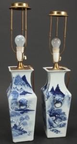 Et par kinesiske vaser af porcelæn, monteret som lamper. (2)