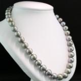 Tahiti perlekæde. Sølvgrå runde perler m/ høj glans, L. 46 cm