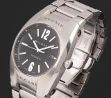 Bvlgari 'Ergon'. Automatic men's watch, steel with date and black dial