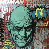 Marek Braun, Mischtechnik auf Kartonagenpappe, 'Human Things $$$'