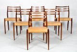 N.O. Møller. Six chairs, model 78, rosewood (6)