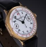 Vintage Eberhard & Co. men's chronograph, 18 kt. gold, white dial, c. 1940's
