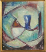 Ubekendt kunstner, 'Blå vase i rum', olie på lærred. (cd)