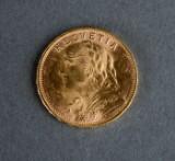 Schweiz. 20 Francs guldmønt 1949