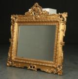 Spejl i guldbemalet ramme, Rokokoform, 1900-tallet