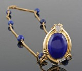 Necklace in 18kt with lapis lazulli and diamonds approx.0.10ct