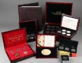 Samling mønter i form af erindringsmønter og medaljer