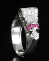 18kt.diamond & ruby ring approx. 0.75ct