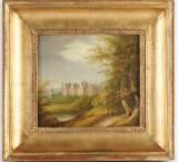 Wilhelm Nordgren, oljemålning, motiv med slott