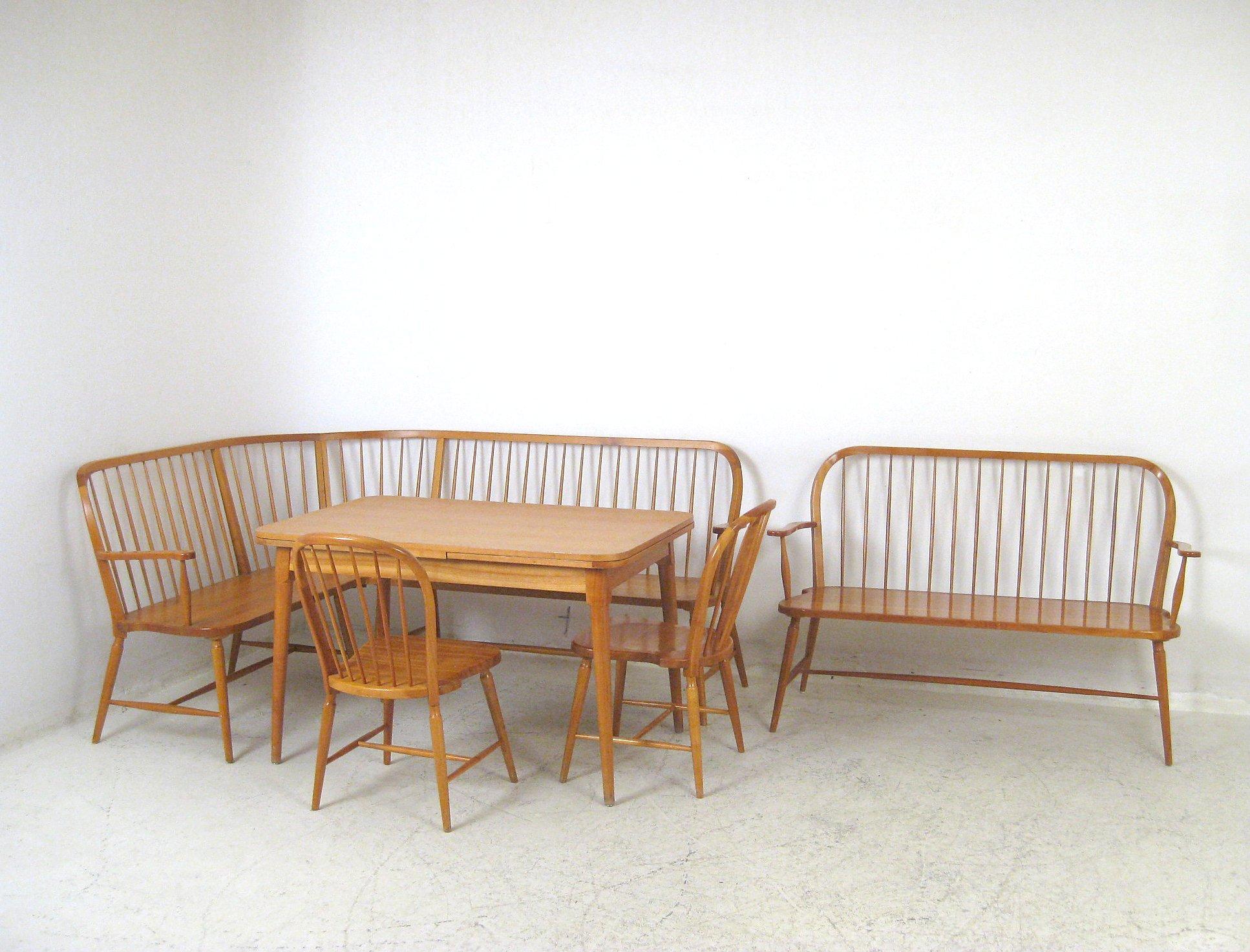 Esstischgruppe, Bank, Eckbank, Stühle Und Esstisch Im Stile Von Ercol (5)