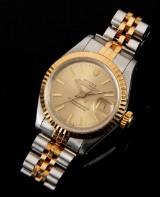 Rolex Oyster Perpetual Datejust damearmbåndsur i stål og 18kt. guld