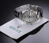 Rolex 'Date' men's watch, steel, silver-coloured dial with date - 2001 cert.