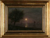 Vilhelm Kyhn, oil on canvas, moonlit evening near Hellebæk