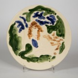 Unique wall plate, 'Satyr und Nymphe', Atelier Tapis Verts, Valauris, ceramic