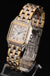 Cartier Panthere. Ladies watch, 18 kt. gold and steel with date