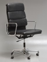 Charles Eames. High-backed Soft Pad office chair, model EA-219, black leather