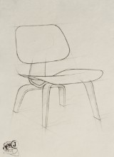 Dimitri Jelezky, Charles & Ray Eames Chair, 2017. Bleistift
