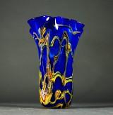 Vase, blåt glas