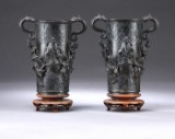 A pair of Chinese bronze vases for incense sticks, probably Ming dynasty (2)
