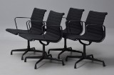 Charles Eames. A set of four office chairs, EA-108, with black hopsack (4)