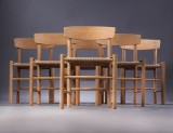 Børge Mogensen. Six dining chairs, 'Folkestolen', model J39, soap-treated oak and papercord (6)