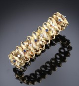 Aage Weimar. Diamond and sapphire bracelet, 18 kt. gold, c. 1950s